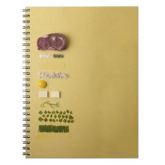 Ingredients for steak tartare on yellow spiral notebook