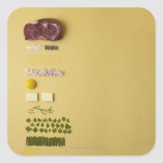 Ingredients for steak tartare on yellow square sticker