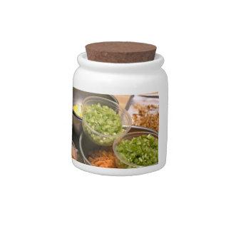 Ingredients of Veggie and Egg Food Candy Jars