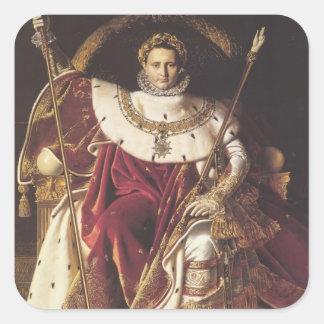 Ingres-Retrato de Jean de Napoléon en Pegatina Cuadrada