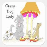 Ingresos a la señora loca del perro de la caridad calcomanias cuadradas