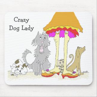Ingresos a señora loca Mousepad del perro de la