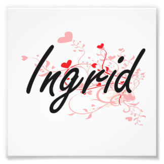 Ingrid Artistic Name Design with Hearts Photo Print
