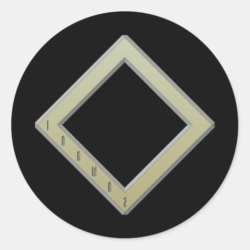Ingwaz Rune gold Round Sticker