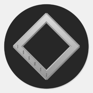 Ingwaz Rune grey Classic Round Sticker
