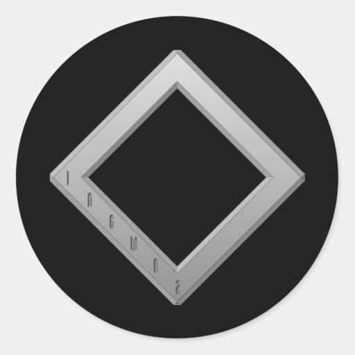 Ingwaz Rune grey Round Sticker