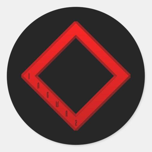 Ingwaz Rune red Round Stickers