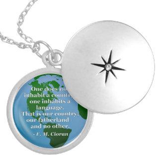 Inhabit country language Quote. Globe Locket Necklace
