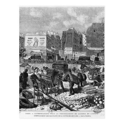 Inhabitants moving from the Butte des Moulins Postcard