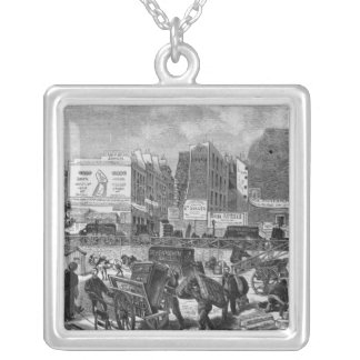 Inhabitants moving from the Butte des Moulins Silver Plated Necklace
