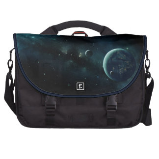 Inhabited planet in space laptop computer bag