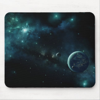Inhabited planet in space mouse pad