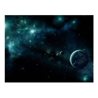Inhabited planet in space postcard
