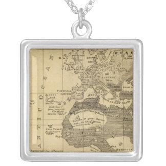 Inhabited World Square Pendant Necklace