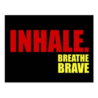 Inhale Breathe Brave on Black - Survivor Jewelry Postcard