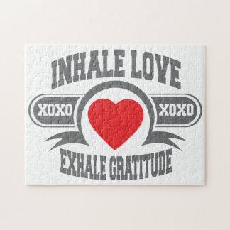 Inhale el amor, exhale la gratitud puzzle con fotos
