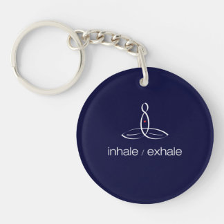 Inhale exhalan - el estilo regular blanco llavero redondo acrílico a una cara