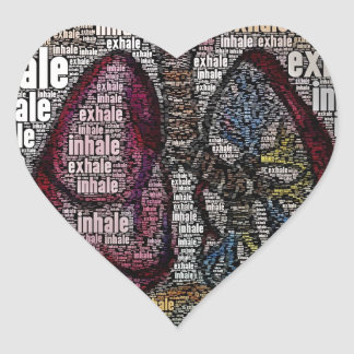 Inhale exhale heart sticker
