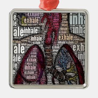 Inhale exhale metal ornament