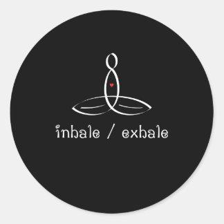 Inhale Exhale - White Fancy style Classic Round Sticker