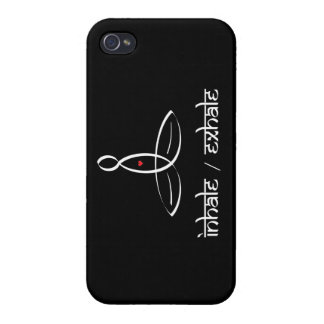 Inhale Exhale - White Sanskrit style iPhone 4/4S Cover