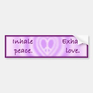 Inhale la paz Exhale el amor Etiqueta De Parachoque