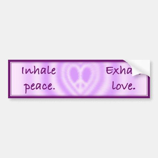 Inhale la paz. Exhale el amor Etiqueta De Parachoque