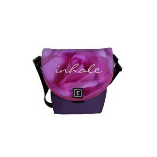 """Inhale"" purple pink rose photo mini messenger bag"