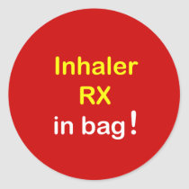 INHALER in Bag. Classic Round Sticker