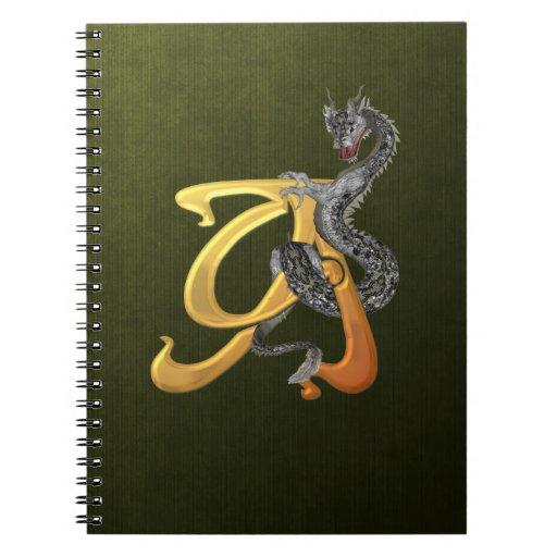 Inicial A de Dragonlore Spiral Notebook
