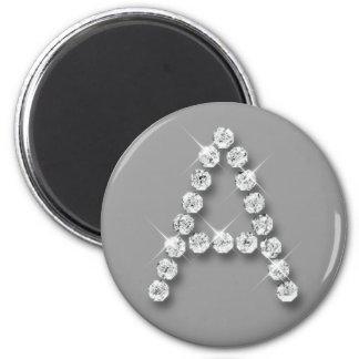 Inicial A del diamante Imán Redondo 5 Cm