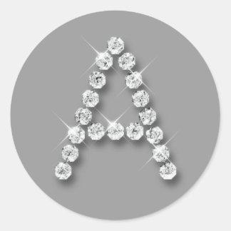 Inicial A del diamante Pegatina Redonda
