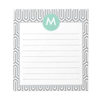 Inicial abstracta del monograma del modelo en gris blocs de notas
