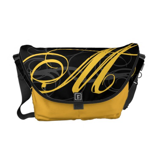Inicial amarilla elegante del monograma del azafrá bolsa de mensajería
