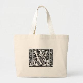 Inicial amplia del vintage del monograma medieval bolsa tela grande