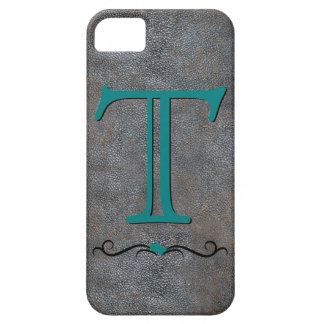 Inicial antigua de cuero apenada del monograma del iPhone 5 protectores
