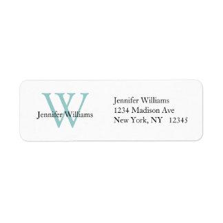 Inicial azul blanca simple elegante de la etiqueta etiqueta de remite