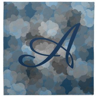 Inicial azul del humo servilleta imprimida