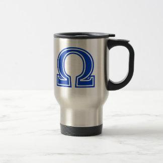 Inicial azul del monograma de la letra griega de O Tazas