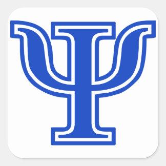 Inicial azul del monograma de la PSI de la letra Calcomanía Cuadradas Personalizada