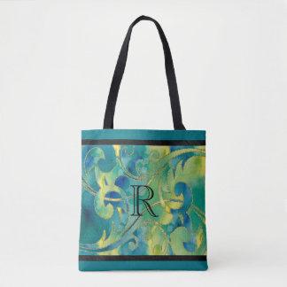 Inicial azulverde del diseño del brillo del oro de bolsa de tela