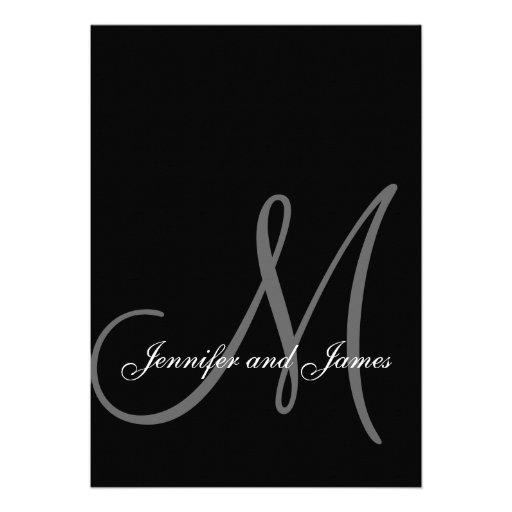 Inicial blanca negra elegante de las invitaciones  invitaciones personales
