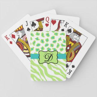 Inicial blanca verde del monograma de la piel del barajas de cartas