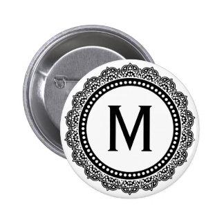 Inicial blanco y negro del personalizado del medal pin redondo de 2 pulgadas