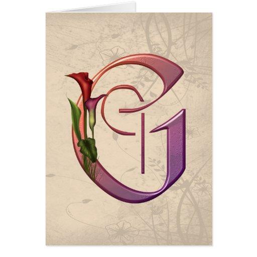 Inicial colorida G de la cala Felicitación