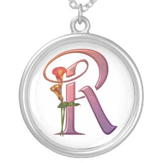 Inicial colorida R de la cala Collar Personalizado