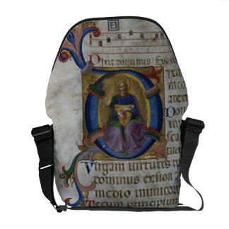 """Inicial """"D"""" del ms 531 f.169v Historiated que repr Bolsas Messenger"""