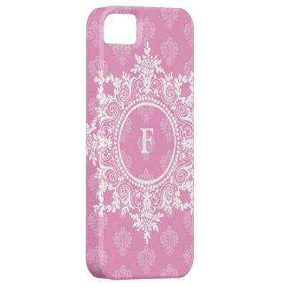 Inicial de encargo afiligranada del damasco rosado iPhone 5 coberturas