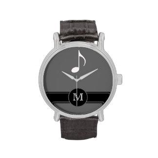 inicial de la etiqueta de la nota musical relojes