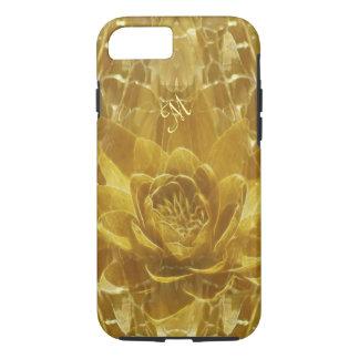 Inicial de la flor de loto del oro funda iPhone 7